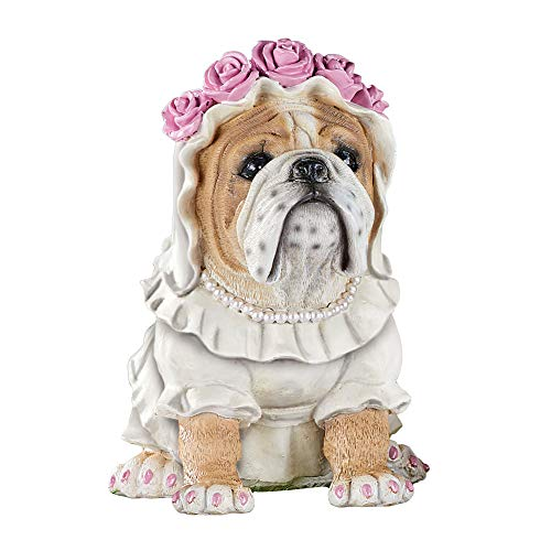 Dress Up Garden - Collections Etc Dress-Up Wedding Bulldogs Figurine - Outdoor Decorative Realistic Statue for Yard, Garden, or Any Room in Home