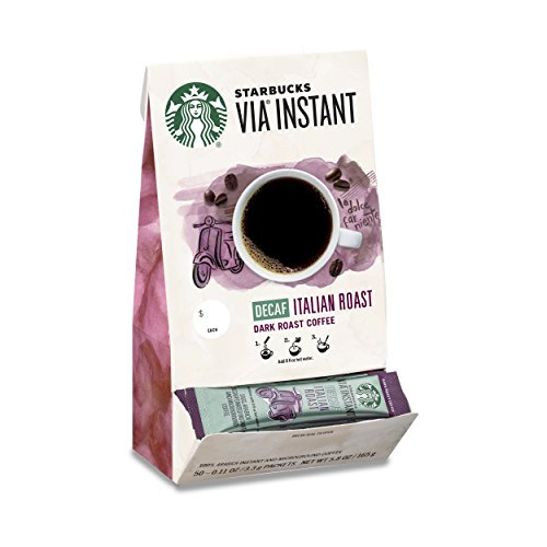 Starbucks VIA Instant Decaf Italian Roast Dark Roast Coffee (1 box of 50 packets) by Starbucks