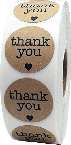 Natural kraft thank you stickers with hearts appreciation labels 1 inch 500 adhesive stickers