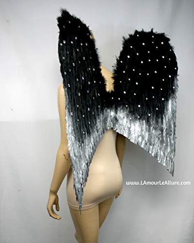 Extra Large Gold Silver Rhinestone Fallen Angel Wings Costume Dance Halloween ()