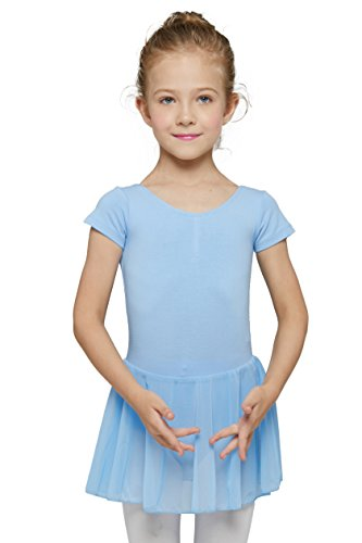 Mdnmd Girls' Dance Short Sleeve Leotard (Tag 130) Age 6-8, Blue) ()