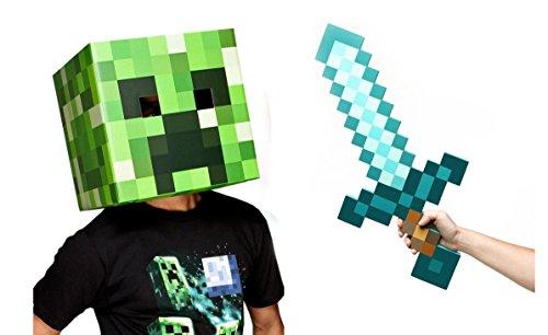 Minecraft Creeper Head & Diamond Sword Costume (Creeper Costume For Girls)