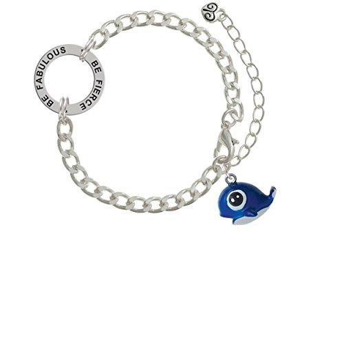 Resin Blue Baby Whale Be Fierce Be Fabulous Affirmation Link Bracelet