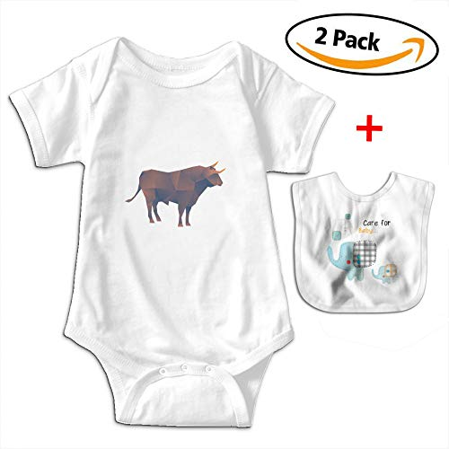 POOPEDD Set Of Polygonal Cow Unisex Baby Short Sleeve Onesies Baby Bodysuit OutfitsBodysuits Infant Bibs by POOPEDD