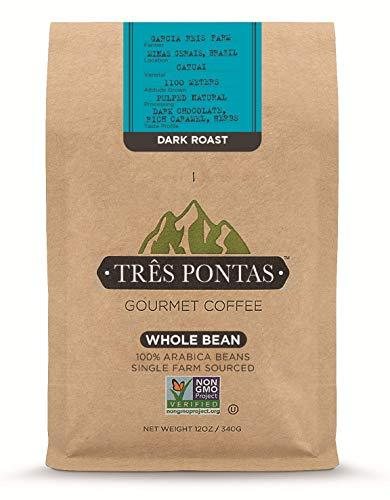 Três Pontas Brazilian Gourmet Coffee, 100% Arabica, Single Origin, Single Farm Sourced, Hand Picked and Freshly Roasted for You, 12 Ounces, Medium, Whole Bean