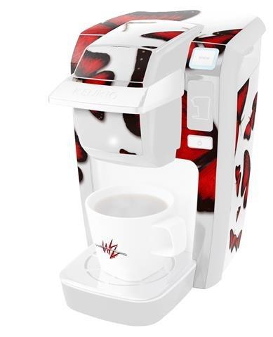 Butterfliesレッド – デカールスタイルビニールスキンKeurig k10 / k15 Mini Plusコーヒーメーカー( Keurigに含まれません   B0181DEL5M