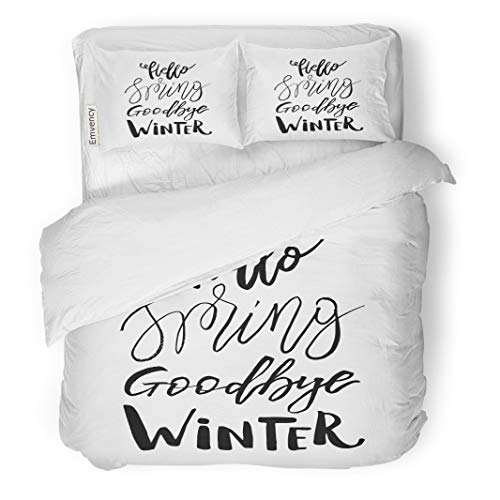 Semtomn Decor Duvet Cover Set Twin Size April Hello Spring Goodbye Winter Inspiration Quote Lettering Brush 3 Piece Brushed Microfiber Fabric Print Bedding Set Cover]()