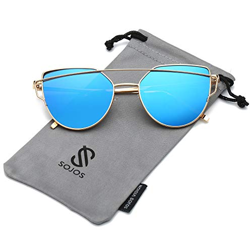 (SOJOS Cat Eye Mirrored Flat Lenses Street Fashion Metal Frame Women Sunglasses SJ1001 with Gold Frame/Blue Mirrored Lens)
