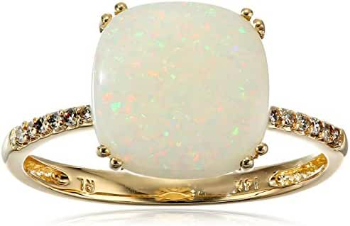 14k Yellow Gold Cushion Cut White Opal with Diamond Accents Ring, Size 7
