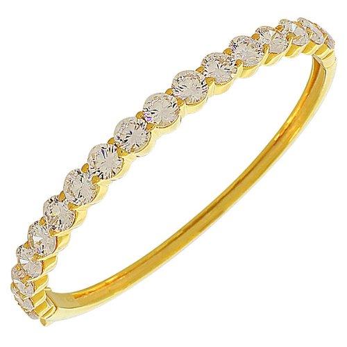 Bracelet Jonc en argent sterling 925avec zircone ovale jaune doré Blanc