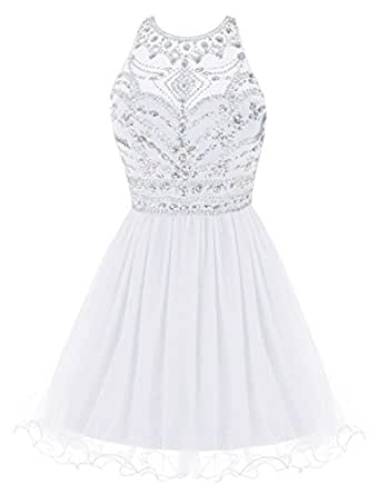 Sheer Beaded Halter Backless Tulle Prom Dress Short Evening Gowns Plus Size Ivory US 22W