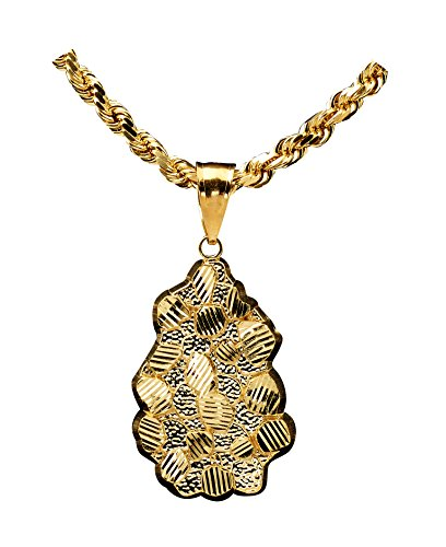 LOVEBLING 10K Yellow Gold Diamond Cut Nugget Charm Pendant (2.05