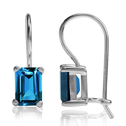 - 2.44ct. Genuine London Blue Topaz 925 Sterling Silver Hook Closure Earrings