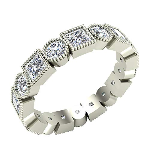 (Bezel Milgrain Princess Brilliant Eternity Diamond Wedding Band 2.52 Carat Total Weight 14K White Gold (Ring Size 5))