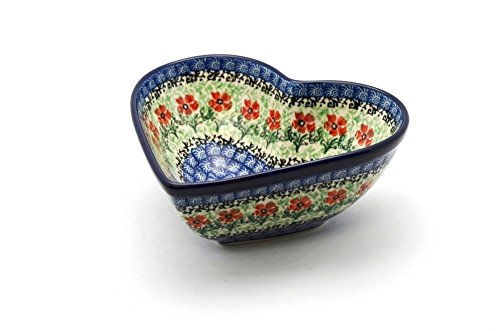 Polish Pottery Bowl - Deep Heart - Maraschino