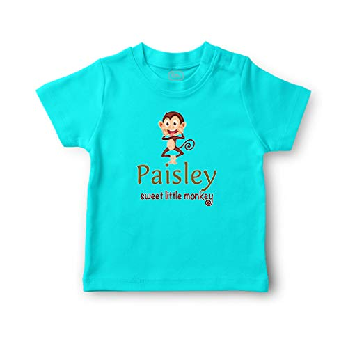 - Paisley Sweet Little Monkey Short Sleeve Crewneck Toddler Boys-Girls Cotton T-Shirt Jersey - Aqua Blue, 12 Months