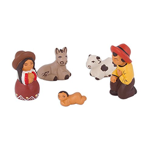 NOVICA Christianity Ceramic Nativity Scene, Multicolor, Arequipa Nativity' (Set of 5)