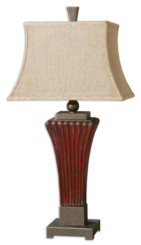 Boutique Ribbed Ceramic Red / Brown Table Lamp