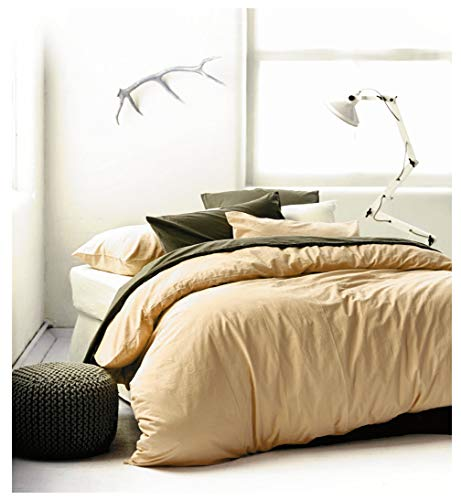 Eikei Washed Cotton Chambray Duvet Cover Solid Color Casual Modern Style Bedding Set Relaxed Soft Feel Natural Wrinkled Look (Queen, Honey Wheat)