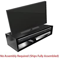 Tabletop TV Stand-Deluxe for Flat Screen (Black) | RIZERvue (Up to 49 diagonal) (No Assembly Required)