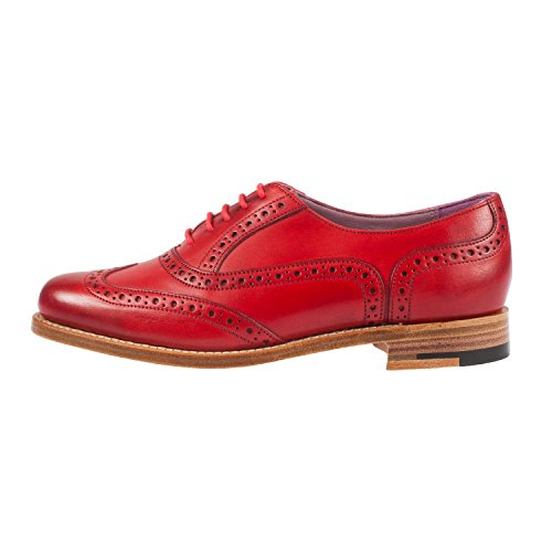 Barker Women's Fearne Hand Painted Lace up Shoe Brogue Red perfect online 45ioM6