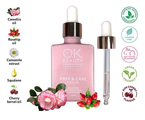 Skin Glow Face Oil Serum Primer Moisturizer Drops - Best Organic Rose Rosehip Treatment for Women, Vitamin C & E Prep Skin Care Serum - OK Beauty