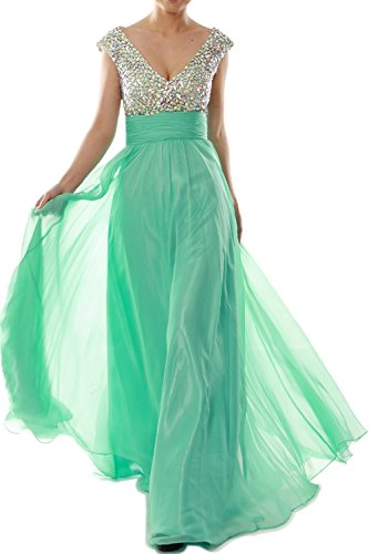 MACloth Women Cap Sleeve V Neck Crystal Chiffon Long Prom Dress ...