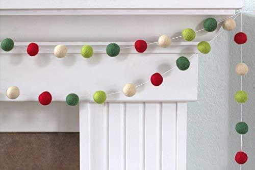 Christmas Felt Ball Pom Pom Garland- Red, Lime, Forest Green, Almond- 1
