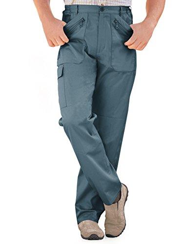 Hommes Élastiquée Pantalon De Travail Combat Multi Poche Cargo Bleu 86cm x 74cm