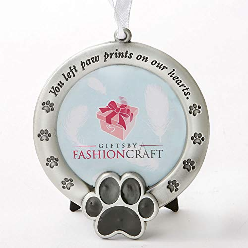 Fashioncraft Pet Memorial Ornament Departed Paw Prints Tombstone You Left Paw Prints On Our Hearts Round Metal Photo Frame Velvet Easel Back & Gift Box Table Top Remembrance Pewter Finish Dog, Cat (Frame Metal Dog Picture)