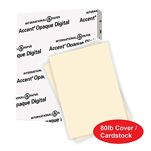 Accent Opaque Cream Colored Cardstock Paper, 80lb Cover, 216 gsm, 8.5 x 11 card stock, 1 Ream / 250 Sheets, Heavy Cardstock with Super Smooth Finish (121978R)
