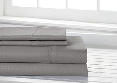 Bed Bath Outlet Highest Quality 1800 Series Ultra Soft 3 Piece Eco-Friendly Deep Pocket Bamboo Greek Key Bed Sheets Hypoallergenic and Wrinkle Resistant Luxurious and Comfortable (KING, -