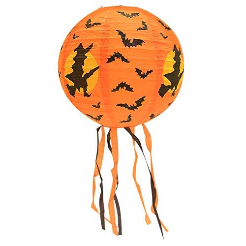 Unpara New Halloween Paper Hanging Lantern DIY Pumpkin Bat Light for Party Celebration Decoration, Children's Toys (Bat, 16