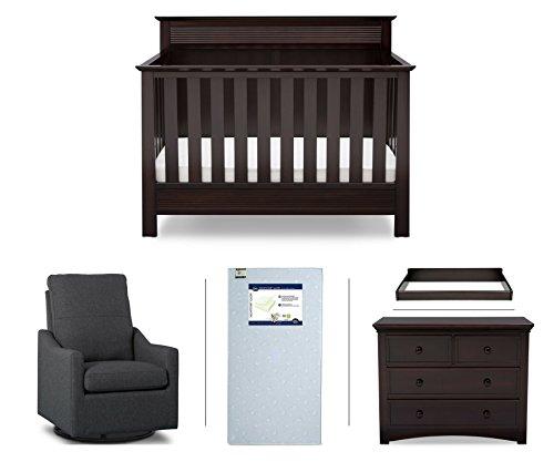 Serta Fall River 5-Piece Nursery Furniture Set (Serta Convertible Crib, 4-Drawer Dresser, Changing Top, Serta Crib Mattress, Glider), Dark Chocolate/Charcoal ()