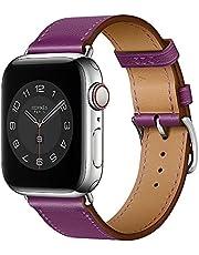 Danwon Pulseira de couro, compatível com pulseiras Apple Watch de 38 mm e 40 mm, muitas cores de couro fino de alta qualidade para iWatch SE Series 6/5/4/3/2/1