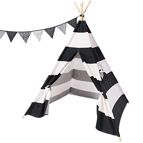 Ling's moment Black White Striped Canvas Teepee Kid's Foldable Teepee Play Tent with Canvas Carrying Case and Fabric Triangle Pennant Flag Best Xmas Gift For Baby (Striped Dome)