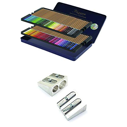 Creative Mark Cezanne Color Pencil Set - Colored Pencil Tin Set of 72 Superior Professional Artist Quality in a Large Double Hinged Metal Tin with KUM 2-Hole Magnesium Pencil Sharpener