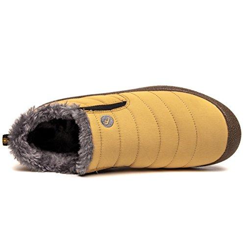 Welltree Dames & Heren Enkel Snowboots Winterschoenen Warm Bontvoering Outdoor Waterproof Sneakers Geel