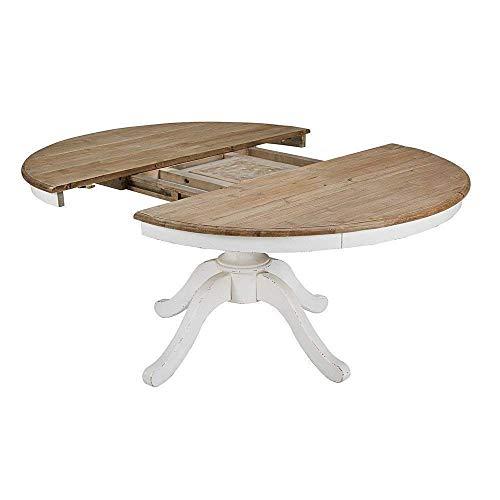 Mesa redonda extensible blanca pie central 100-110 - 120-130 - 140-150 cm - madera maciza A Medida