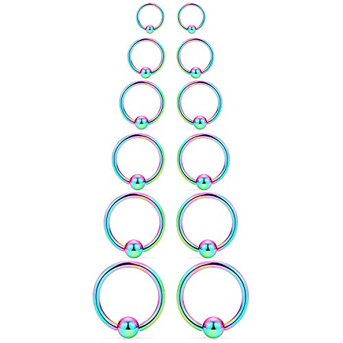 - SCERRING 12PCS 14G Stainless Steel Captive Bead Ring Nose Rings Hoop Helix Daith Cartilage Tragus Earrings Nipple Eyebrow Body Piercing 8mm 10mm 12mm 14mm 16mm 19mm Rainbow
