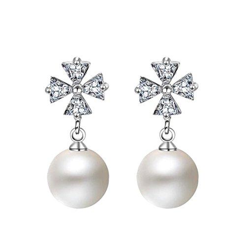 Topdo 1 Pair Lady Elegant Rhinestone Four-Leaf Clover Faux Pearl Drop Dangle Earrings Alloy Luxury Teardrop Earrings ()