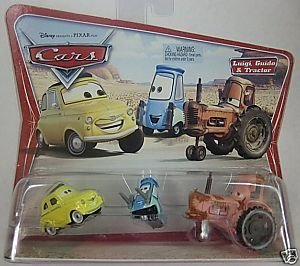 Disney Pixar Cars Luigi Guido & Tractor 1:55 Scale Die Cast Car on Original Desert Background Scene (Luigi Guido Tractor)