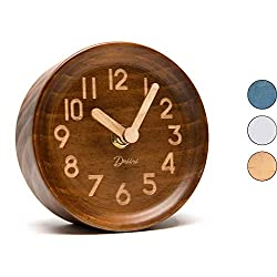 Driini Wooden Desk & Table Analog Clock Made of Genuine Pine (Dark) - Battery Operated with Precise Silent Sweep Mechanism