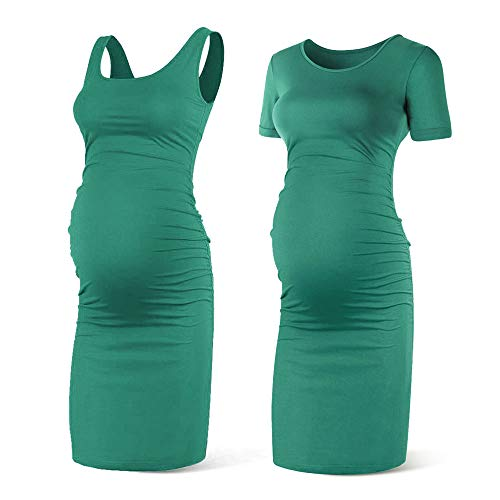 (Rnxrbb Women Summer Sleeveless Maternity Dress Pregancy Tank Scoop Neck Mama Clothes Casual Bodycon Clothing,GreenX2-L)