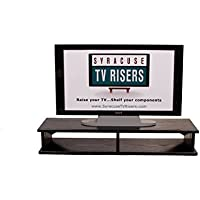 Black X-LG 2-Pocket Double Top TV Riser 40wide x 12 deep x 6 1/2 high outside dimension-18 wide x 11 deep x 5  high each pocket-by Syracuse TV Risers