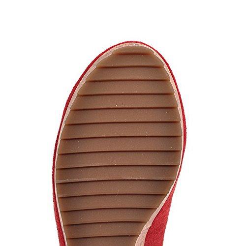 AllhqFashion Mujer Hebilla Tacón Alto Gamuza(Imitado) Sólido Puntera Redonda Puntera Cerrada De salón Rojo