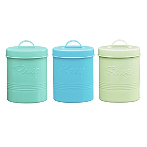 (Global Amici Retro Fifties Metal Canister (Set of 3), 50 oz, Multicolor)