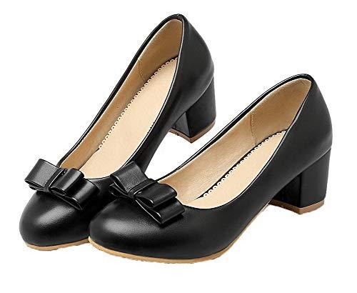 Chaussures Unie Cuir Couleur Femme Agoolar Rond Pu Gmbdb011599 Légeres Noir xBYqn4