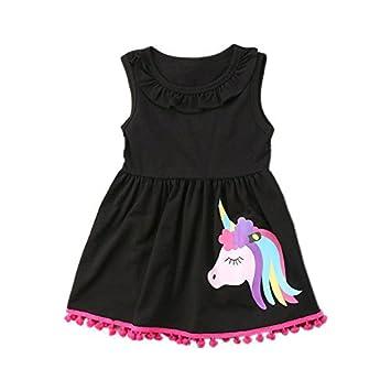 Zooarts para 2 – 7 años niños niñas Unicornio Imprimir sin Mangas Vestido + Legging Pants