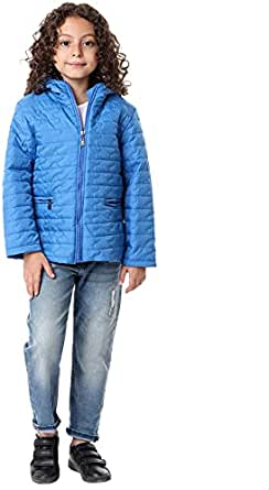 Andora Cotton Welt Pockets Quilted Zip-Up Hooded Jacket for Kids - Blue, 10 Years